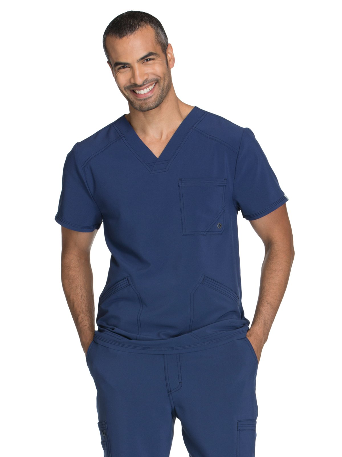 Cherokee Infinity Men's V-Neck Solid Scrub Top Medium Navy