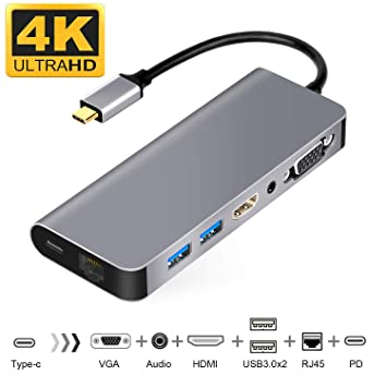 USB-C to HDMI VGA Ethernet Hub Adapter for 2016/2017/2018 MacBook/MacBook  Pro/MacBook Air 2018, Support Samsung DeX for Galaxy