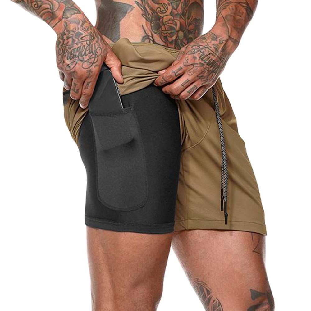 MECH-ENG Men's Workout Running 2 in 1 Shorts Training Gym 7'' Short with Pockets(Khaki XL/Tag 3XL) by MECH-ENG