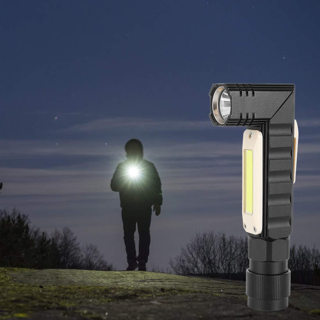 Luce di Lavoro Impermeabile con Base magnetica rotante a 360 /° Torcia Elettrica 6000k Torcia LED COB USB Ricaricabile 1800mAh Lampada da Lavoro 1000LM Ultra Luminoso Lampade di ispezione 5 modalit/à