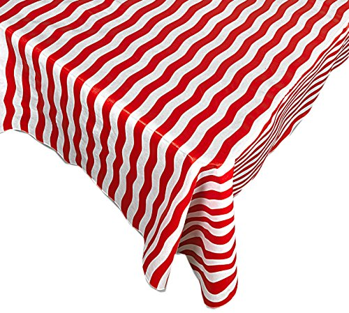 Home Bargains Plus Patriotic Bold Red Stripe Print Indoor/Outdoor Vinyl Flannel Backed Tablecloth - 52 x 70 Oblong ()