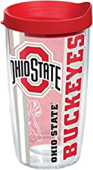 Clear Tervis 1230183 Ohio State Buckeyes Pregame Prep Tumbler with Wrap and Red Lid 16oz