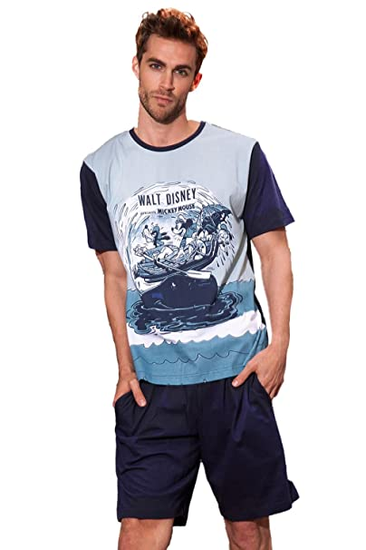 Pijama Manga Corta Hombre Disney Whaler, Color Azul, Talla M