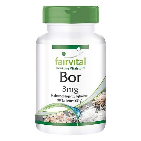 Boron 3 mg - GRANEL durante 3 meses - VEGAN - 90 comprimidos - elementos traza
