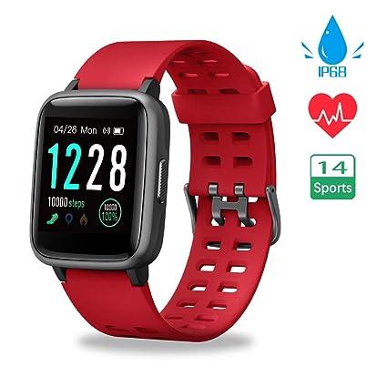 Smartwatch, Reloj Inteligente Impermeable IP68 Pulsera Actividad Hombre Mujer, Inteligente Reloj Deportivo Reloj Fitness con Pantalla Táctil Completa ...