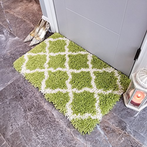 Shag Door Mat | New Moroccan Trellis Green Shag Doormat Rugs for Living Room Bedroom Nursery Kids College Dorm Carpet by European Made MH10 Maxy Home