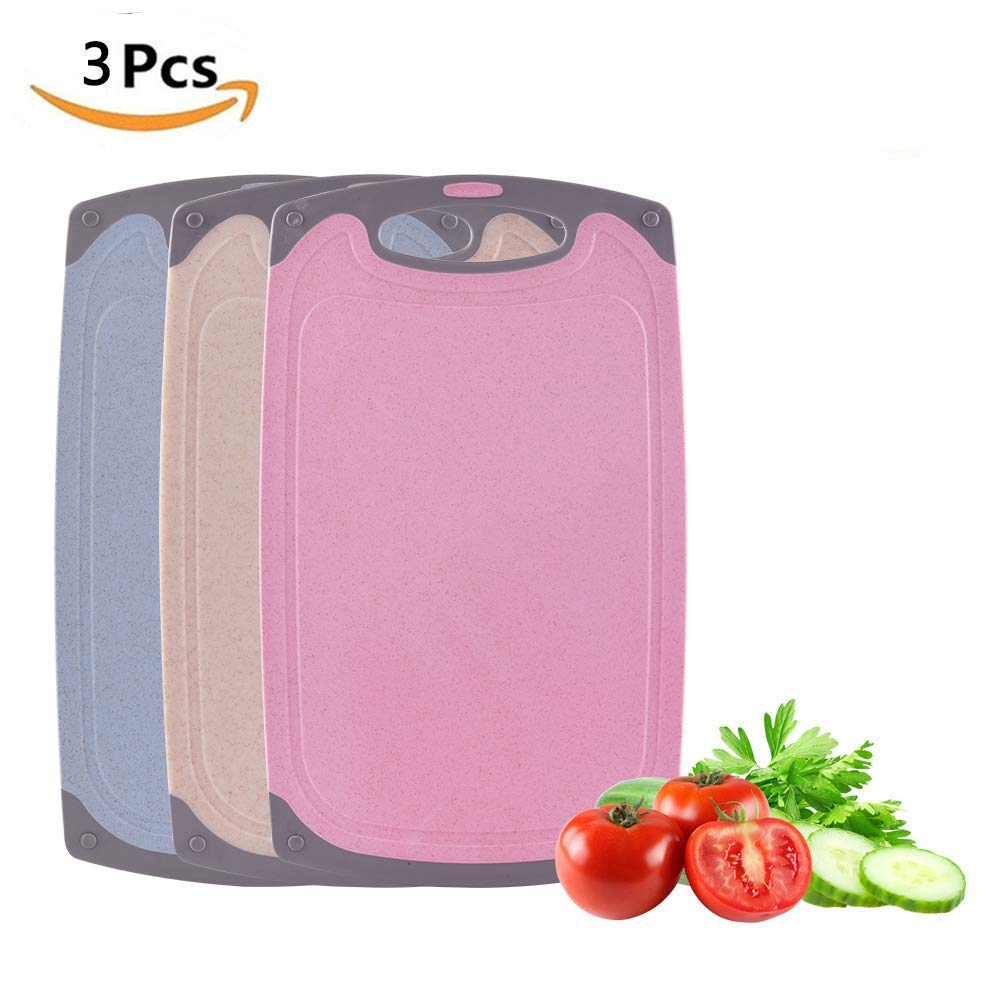 Chopping Boards Set, 3 Pack Plastic Cutting Board BPA Free (35 x 21 x 0.7cm), Professional Kitchen Coloured Cutting Boards with Non-Slip Feet, Juice Groove Easy to Clean, Dishwasher Safe (Pink+Beige+Blue) BOCHEN
