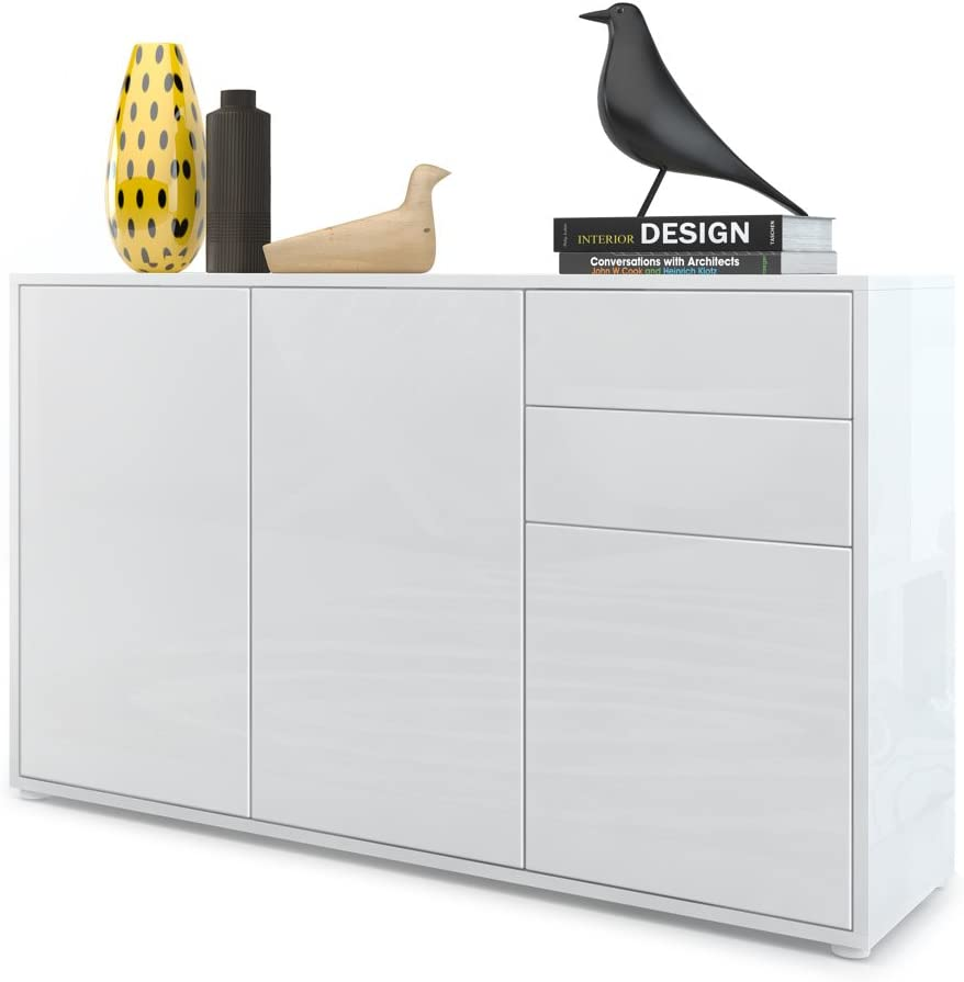 Vladon Cabinet Chest of Drawers Ben V3, Carcass in White High Gloss/Front in White High Gloss
