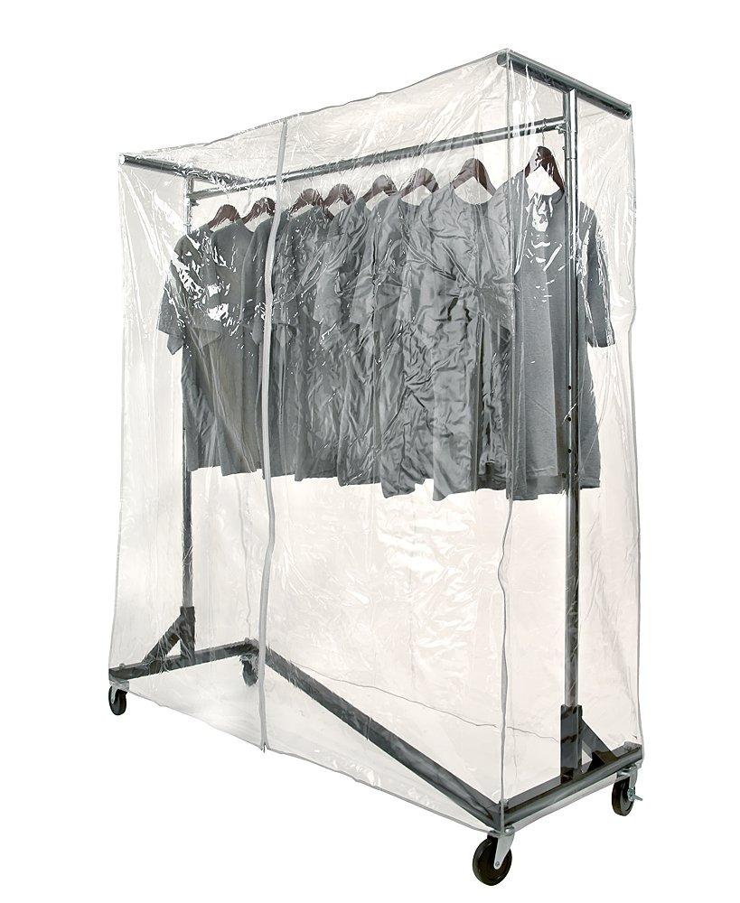 Commercial Grade Garment Black Base Z-Rack with Cover Supports & Vinyl Cover by JOMAHMA