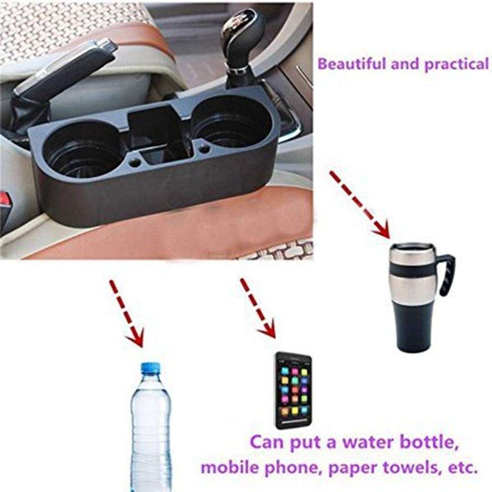BiuZi Car Cup Holder 1Pc Black ABS Car Seat Drink Cup Holder 3-in-1 Car Multi-Purpose Shelf