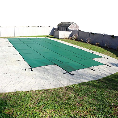 (Pool Mate 1428CS-90-GRN-PM Green Mesh Safety Cover for 14 ft. x 28 ft. with 4 ft. x 8 ft. center end step Swimming Pool)