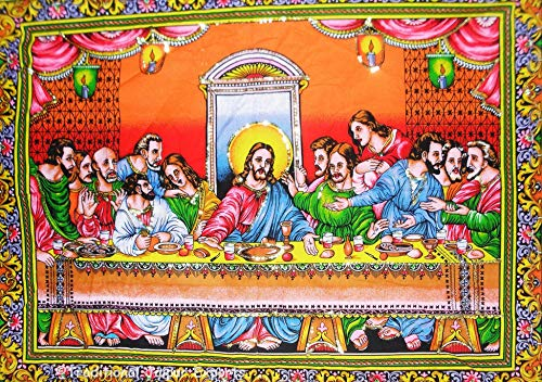 Traditional Jaipur Last Supper The Final Meal Lord's Supper Jesus Wall Poster with Sequins Work Wall Decor Gypsy Dorm Decor Bohemian Wall Art 30 x 40 inches