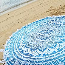"PePeng Oversized Print Chiffon Beach Towel with White Tassels, 59"" Extra Large Round Indian Mandala Boho Beach Towels for Summer Travel Holiday (Blue)"