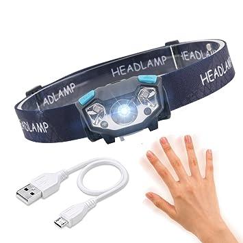 Das DIY Liest IR-Sensor-Induktions-Superlicht 5W LED-Scheinwerfer Kopflampe LED Wiederaufladbar Leichter Wasserdichter Scheinwerfer F/ür Das Laufen Gehende Kampierende Lesung Die Das Fischen Liest