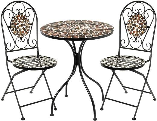 Conjunto Mesa y 2 sillas con Mosaico para Exterior marrón de Hierro y cerámica rústico - LOLAhome: Amazon.es: Jardín