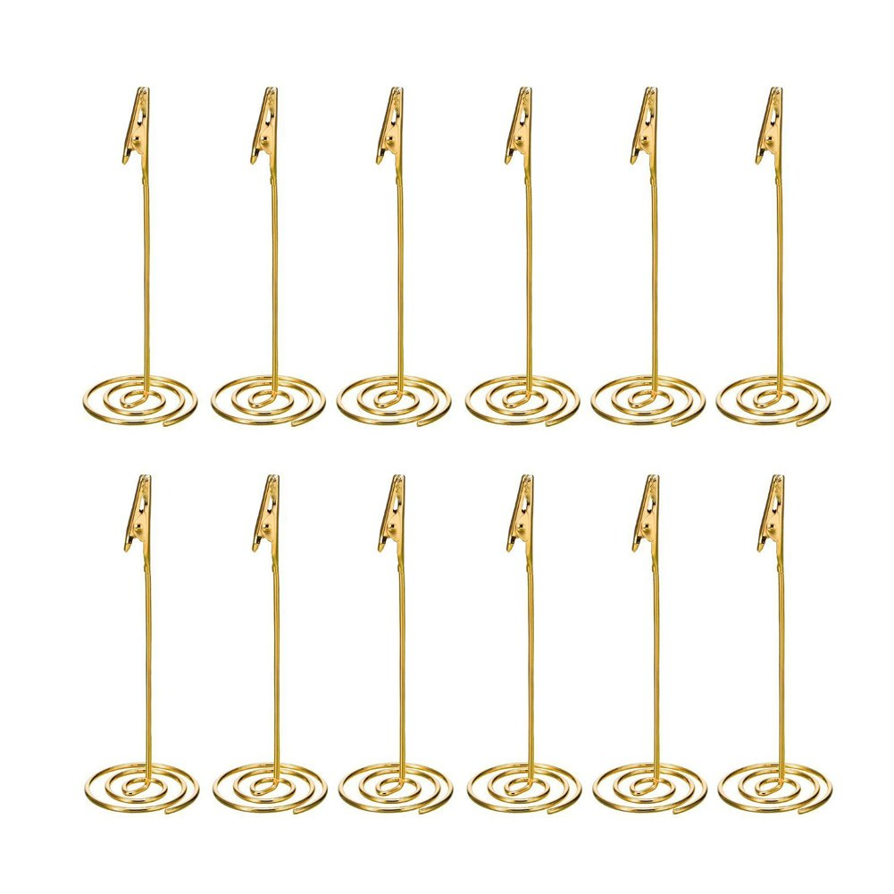 Artliving 12pcs Place Card Holder Memo Holder Clip Photo Holder Table Number Holder Gold