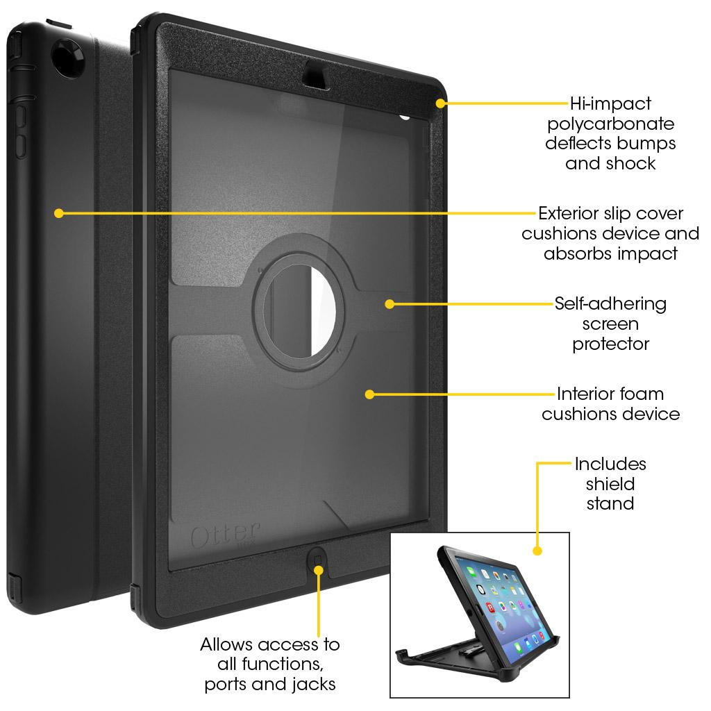 huge selection of 0cb2e 24c99 OtterBox Defender Series Case for iPad Air - Retail Packaging - Black