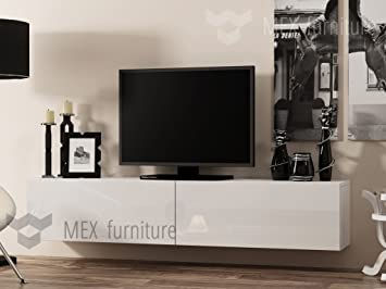 Modern TV Wall Mounted Cabinet 180 Cm, High Gloss Fronts (White Body White