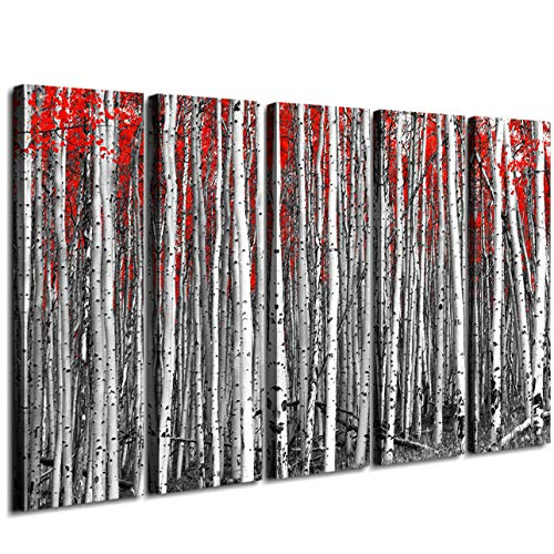 (Extra Large Wall Art Red Forest Trees Leaves Black and White Canvas Prints Oil Painting Picture Home Decor Frame Printing Natural Scenery Landscape Modern Artwork Decorations 5 Panel 60 Inch)