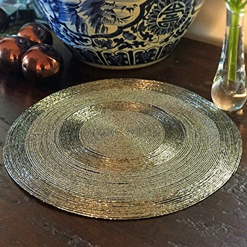 The crosby street shimmer and chic round silver filigree for Glass table placemats