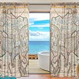 Use4 Design Unique Fashion Old Vintage World Map Retro Map 54 Room Windows For Kids Baby Children Willow Transparent Voile Tulle Curtain Sheer Voile Panel Drapes Curtain