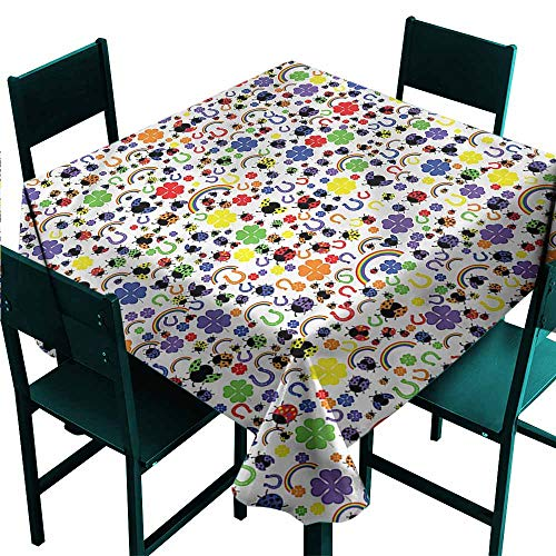 - DONEECKL Easy Care Tablecloth Horseshoe Lucky Charms Ladybird Easy to Clean W60 xL60