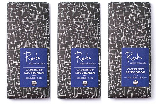 Raaka Chocolate Cabernet Sauvignon Dark Chocolate 66% Cacao (1.8oz Bar - 3 Pack), Organic, Non-GMO, Kosher Premium Craft Chocolate, Vegan, Gluten and Soy Free, Bittersweet, Bean-to-Bar Dark (Cabernet Sauvignon Chocolate Wine)