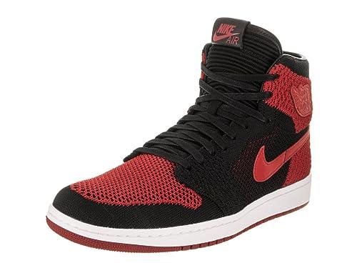 Nike Zapatillas Hombre Air Jordan 1 Retro High Flyknit GS EN Tejido Negro y Rojo 919704