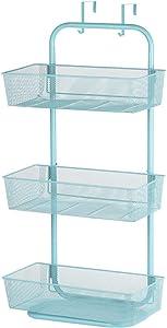 NEX Over the Door Basket Organizer, 3-Tier Mesh Basket Hanging Storage Unit Over Door Pantry Rack Organizer (Aqua Blue)