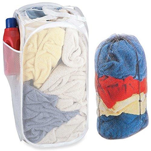 - Pop Up Laundry Mesh Hamper And Drawstring Mesh Laundry Bag Combo [Bundle Pack, 2 Pcs.] - Folding 2 Load Hamper PLUS Draw String Mesh Tote Bag w/Handles - Laundry, Balls, Toys & More