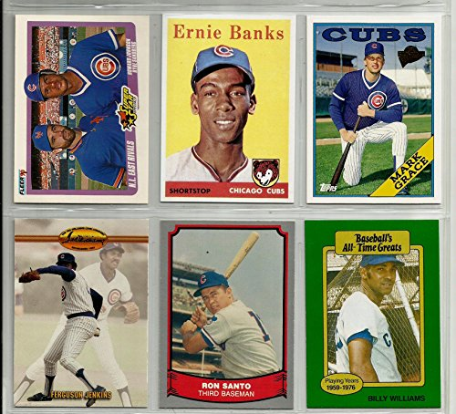 chicago-cubs-baseball-card-lot-6-billy-williams-fergie-jenkins-ernie-banks-1958-reprint-ryne-sandber