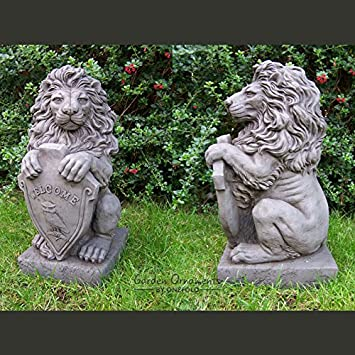 Large Stone Garden Ornaments Garden ornaments by onefold ls7 large welcome lions pair stone garden ornaments by onefold ls7 large welcome lions pair stone garden statue grey 30x25x60 workwithnaturefo