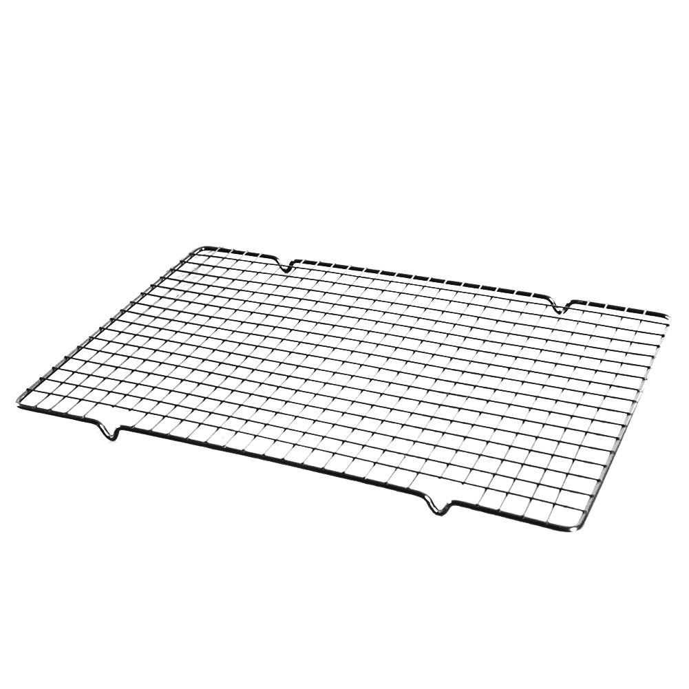 Heavy Duty Carbon Steel Cooling Rack Metal Wire Grid Sheet Pans Cool Cookies, Cakes, Breads - Oven Safe for Baking, Cooking, Roasting, Grilling, 10''x16''