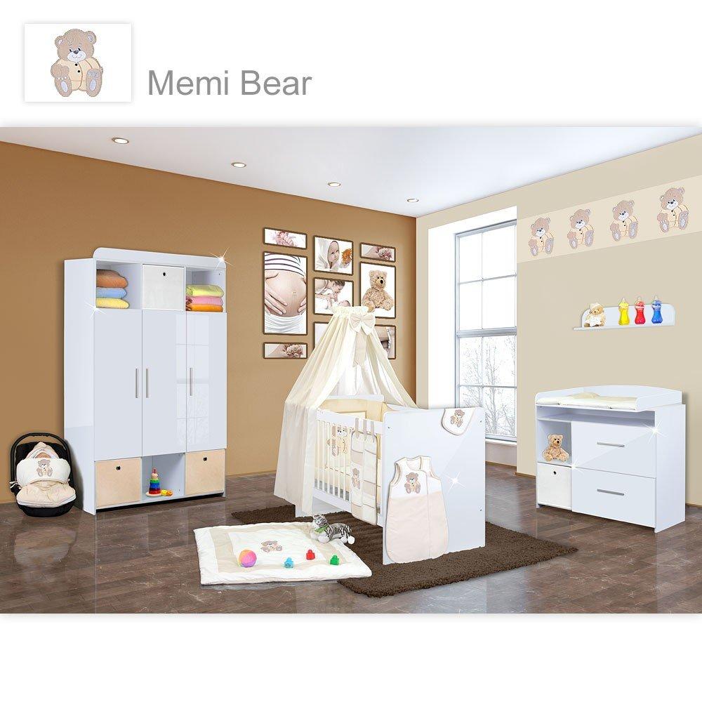 Babyzimmer Mexx in Weiss Hochglanz 20 tlg. mit 3 türigem Kl. + Memi Bear Beige