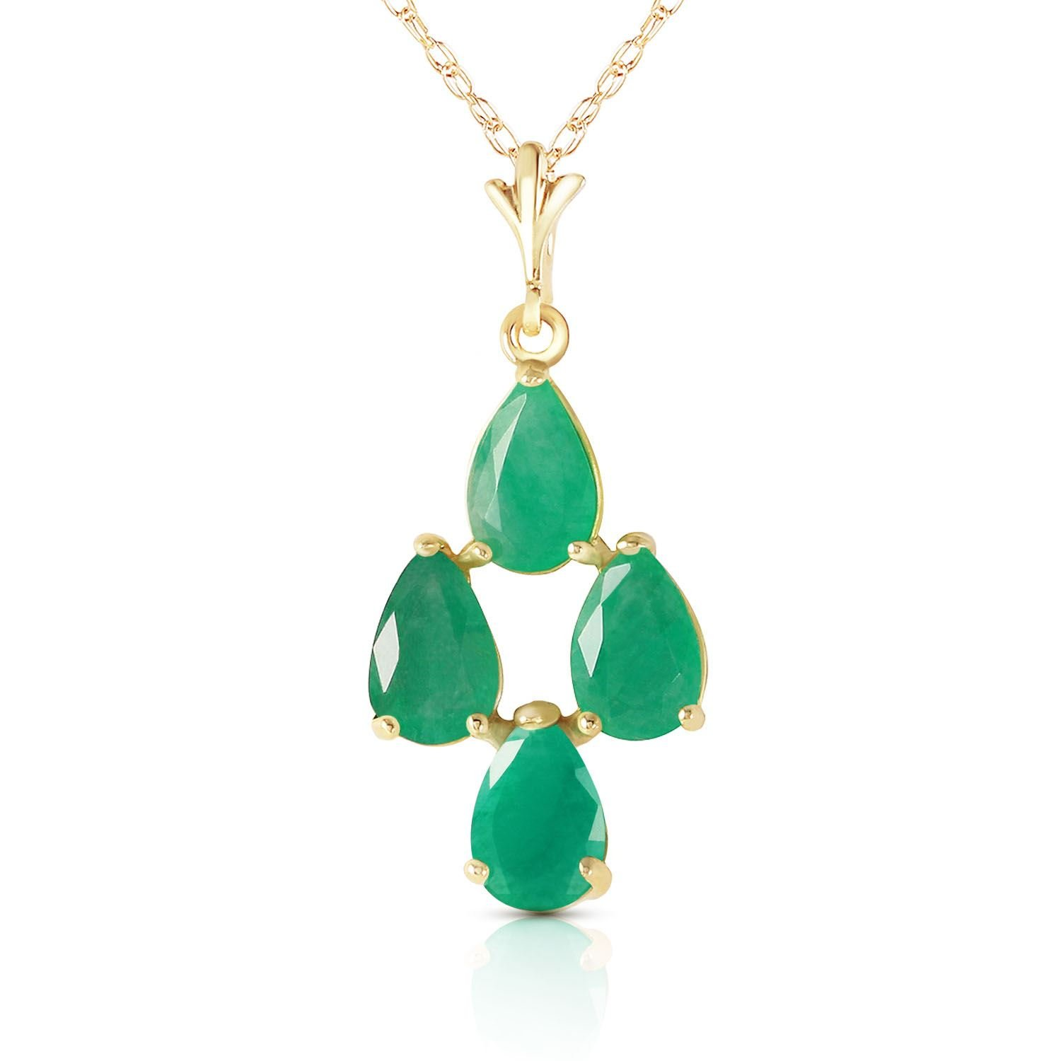 ALARRI 1.5 Carat 14K Solid Gold Love Portrait Emerald Necklace with 18 Inch Chain Length