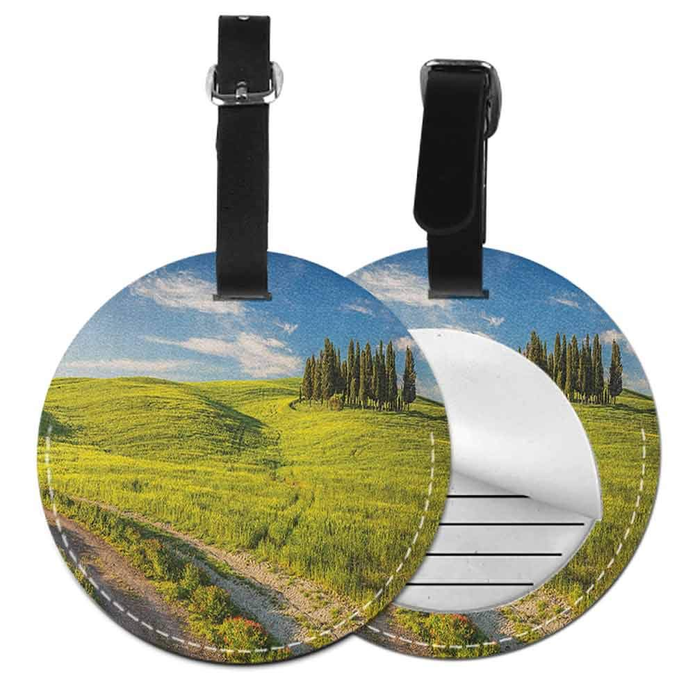 Cute Luggage Tag Abstract,Sunbeams in Clear Sky Round Luggage Tags