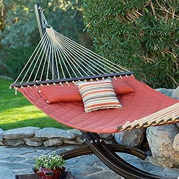 sienna diamond stitch quilted double hammock amazon     island bay 13 ft  cocoa pillowtop hammock   garden      rh   amazon