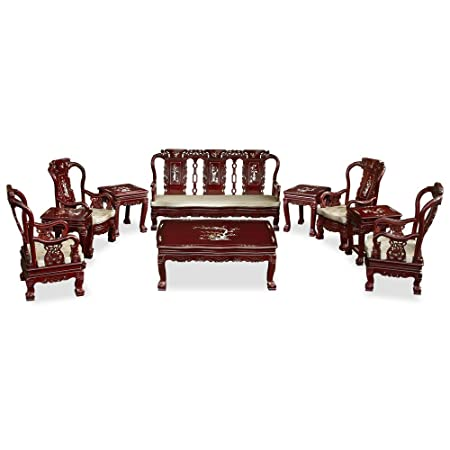 ChinaFurnitureOnline Rosewood Living Room Set, Imperial Court Design with Mother Pearl Inlay 10 Pieces Sofa Set Dark Cherry Finish