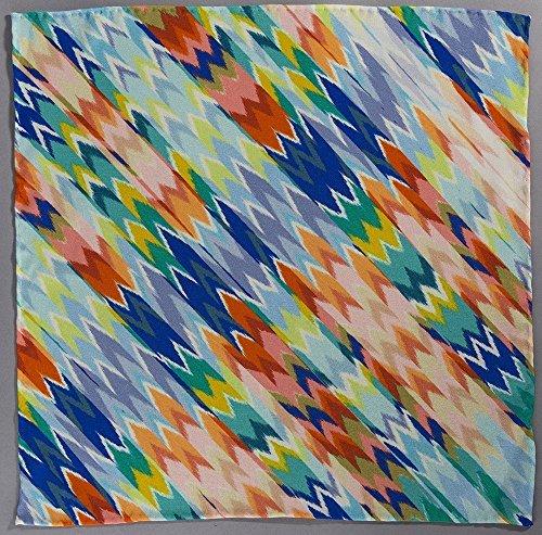 Racing Satin - Handrolled Sherbert-colored Geometric Silk Satin Luxe Pocket Square Handkerchief (Racing Fish)