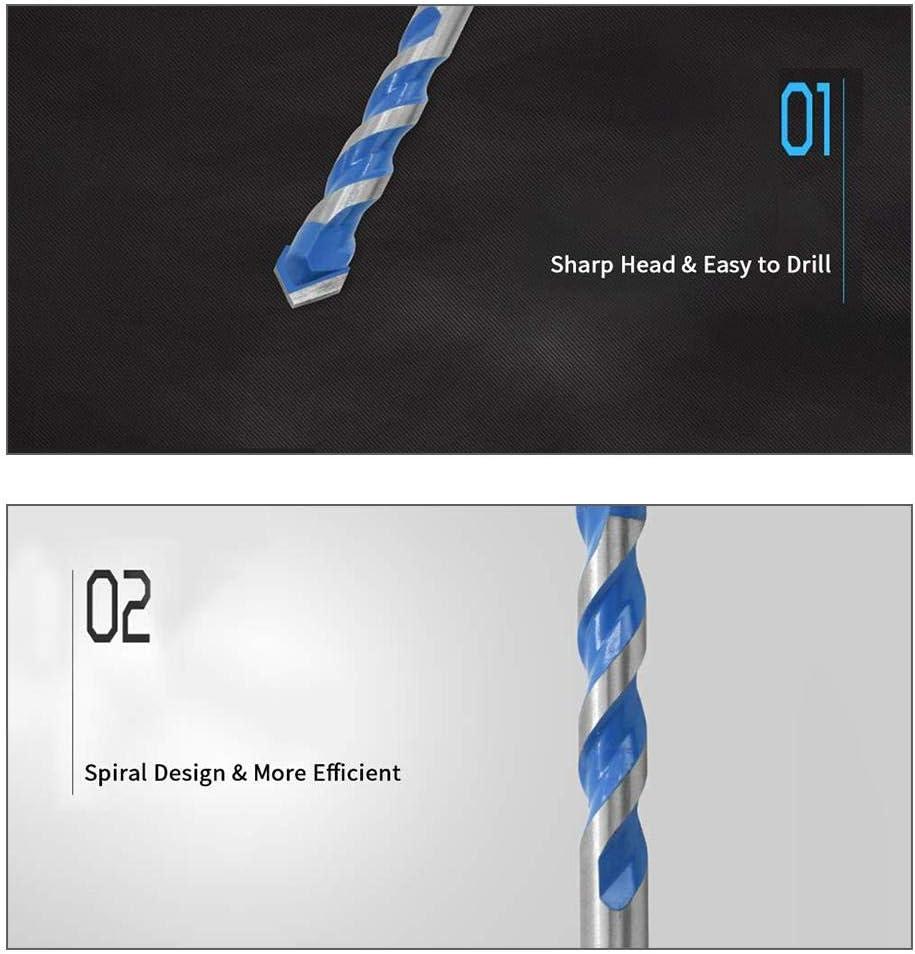 8Pcs Masonry Drill Bit Set,3-12mm Tungsten Carbide Masonry Drill Bit Set for Metal Steel Porcelain Ceramic Tile Concrete Brick Plastic Wood
