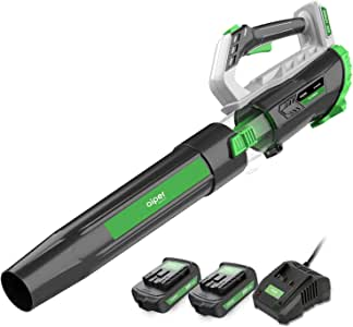 AIPER Leaf Blower 330CFM 20V Cordless Blower with 2 x 2.0Ah Rechargeable Lithium Batteries & Quick Charger, Perfect for Deck, Driveway, Sidewalk, Patio & All Around Your House