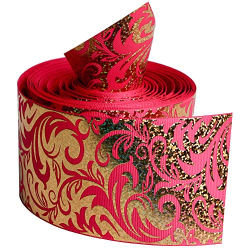Shocking Pink Color Series with Gold Foil Twigs Single Face Printed Grosgrain Ribbon 3