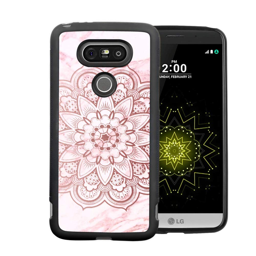 LG G5 Case - Black TPU Waterproof Full-Body Protective Cover Case Compatible with LG G5 Beautiful Mandala Case for LG G5