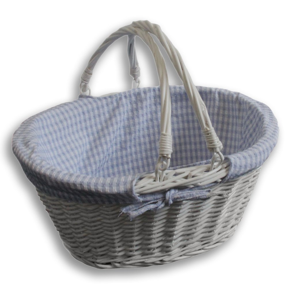Homescapes Blue Gingham Lined Oval White Willow Wicker Folding Handle Shopper Basket, Superb for Picnics, Shopping and Displays