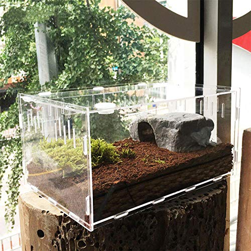 (Tfwadmx Reptile Breeding Box, Acrylic Reptile Tank Feeding Container for Lizard Hermit Crabs Geckos Frogs Spider and Smaller Reptiles )