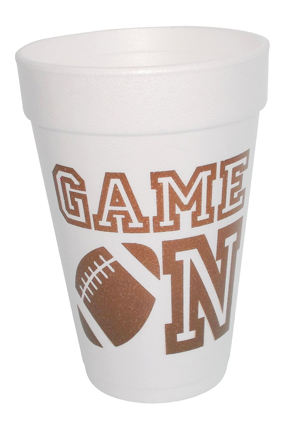 Game On Football Styrofoam Cups 10 (16 Oz.) Pack - White with Chocolate Lettering Front & Back Printed