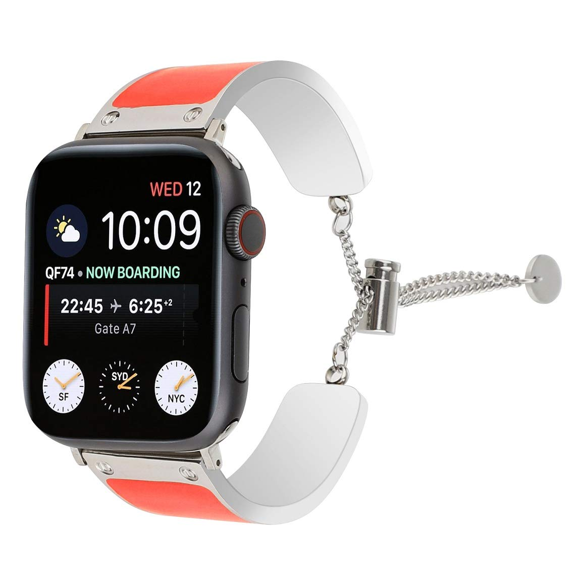 Juzzhou Bands for Apple Watch iWatch Series 1 2 3 4 Edition Wrist Strap Stainless Steel Replacement Wriststrap Wristband Bracelet with Adjustable Buckle for Women Girl Lady Boy Orange red 38mm 40mm by Juzzhou