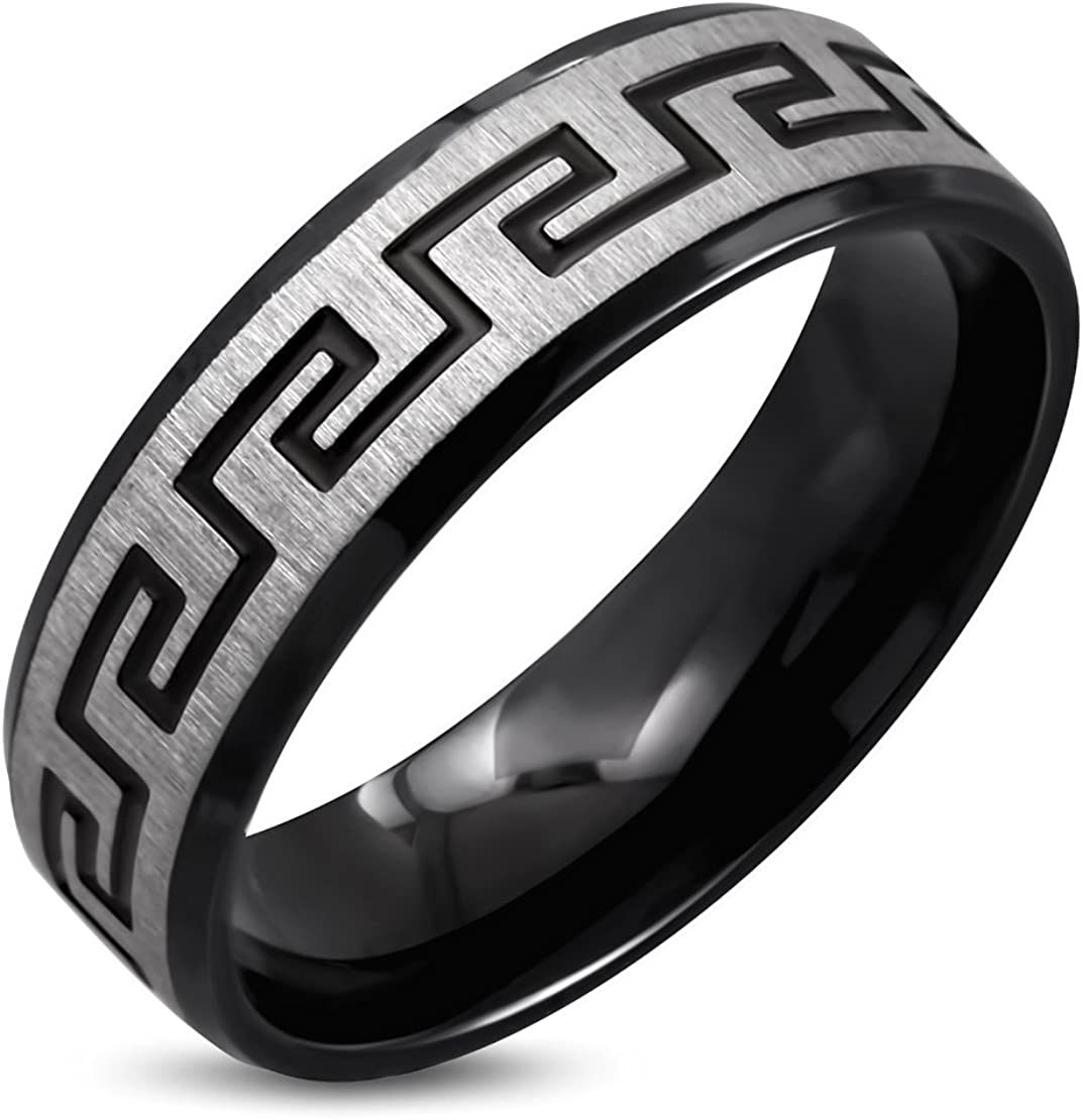 Stainless Steel Black Satin Finished 2 Color Greek Key Comfort Fit Flat Band Ring