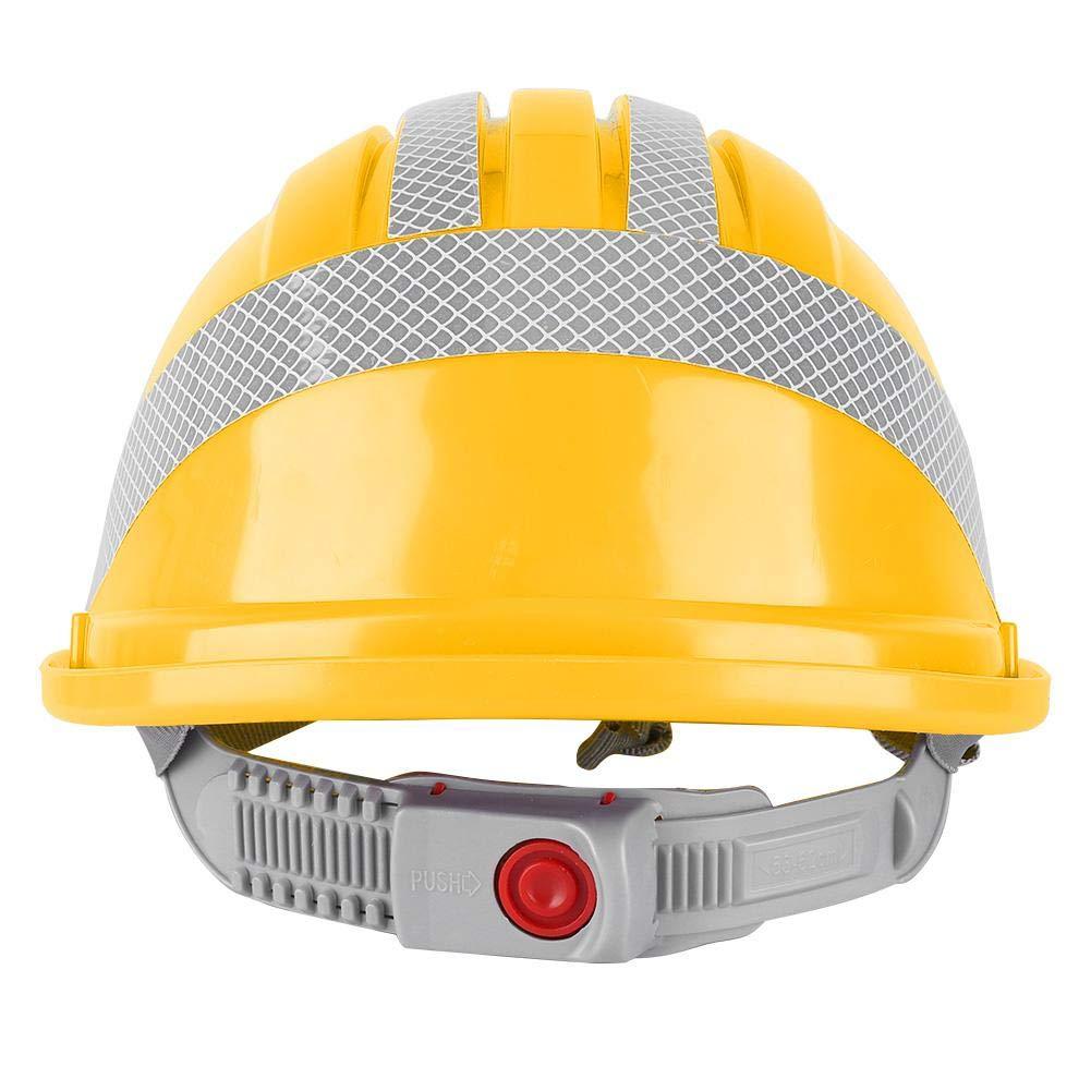 Casco de seguridad Amarillo construcci/ón del trabajador Tapa protectora Ventilar ABS Casco Casco de seguridad con franja reflectante