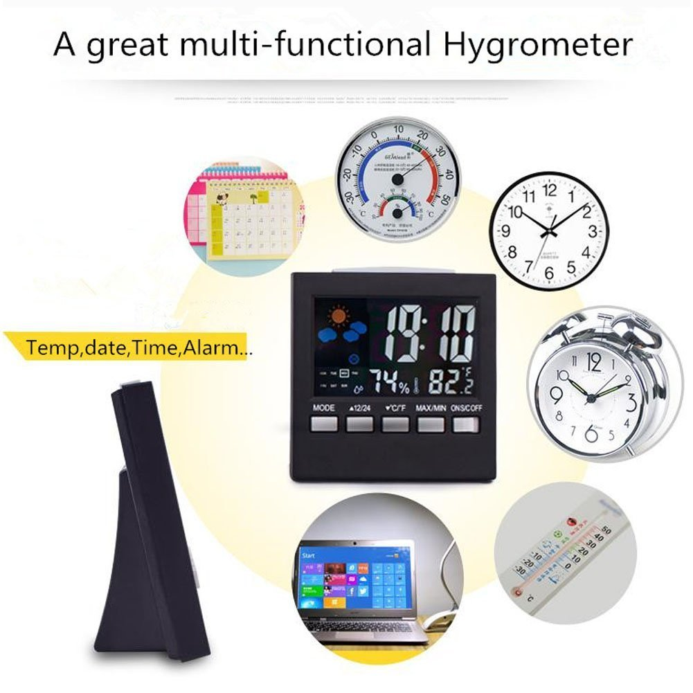 iBetterLife Hygrometer Thermometer, Multifunction 7-IN-1 Digital Temperature Humidity Gauge, Indoor Humidity Meter Monitor w/Calendar, Time, Alarm Clock, Voice Control Backlight for Home, Car, Office by iBetterLife (Image #2)